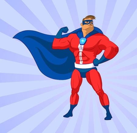 Super héroe. Ilustración del vector en un fondo Foto de archivo - 32650890
