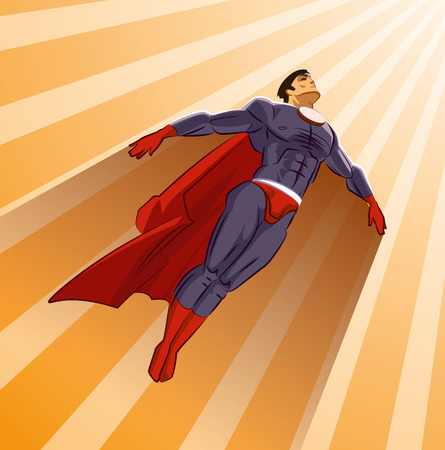 flying man: Superhero flying up on a sunlight
