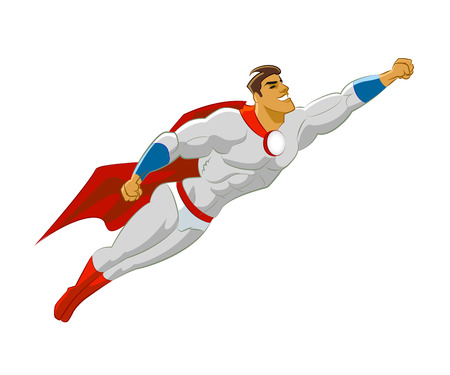 Superhero flying. Vector illustration