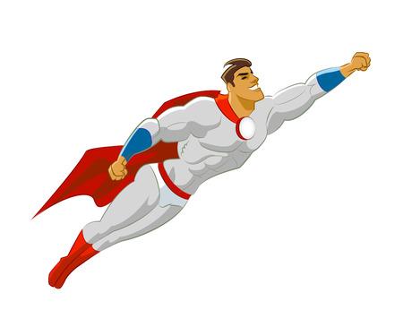 Superhero vliegen. Vector illustratie