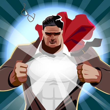Superhero businessman open his shirt