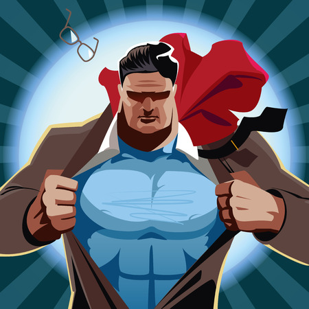 Superhero businessman open his shirt