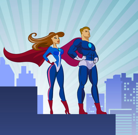 Super Heroes - Male and Female. Vector illustration isolated on a white background
