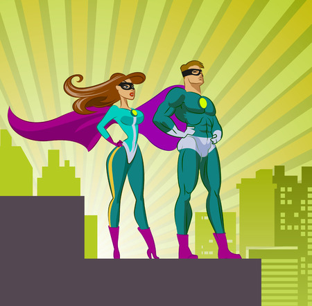 couple lit: Super Heroes - Male and Female. Vector illustration isolated on a white background