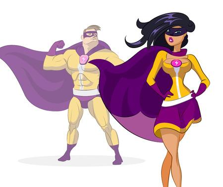 couple lit: Super hero. Vector illustration on a background Illustration