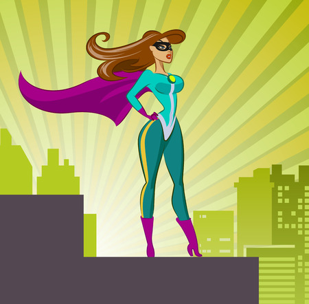 woman standing back: Super Hero - Female. Vector illustration isolated on a sunrise background