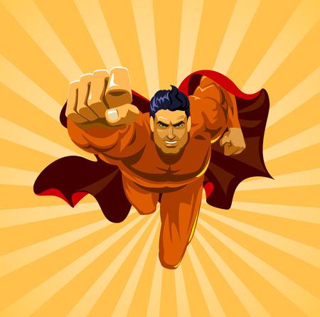 flying man: Flying superhero on camera Illustration