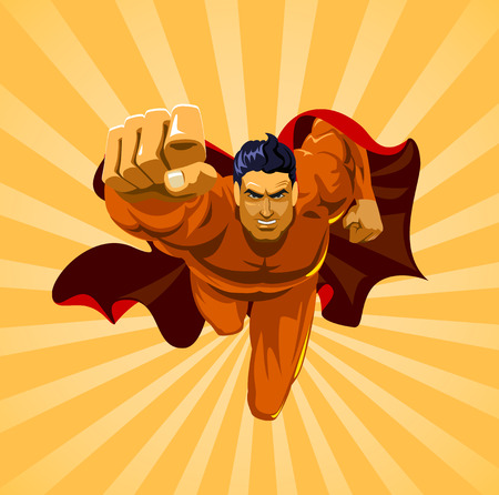 Flying superhero on camera Stock Illustratie