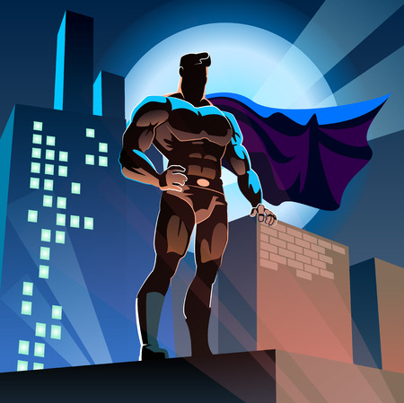 cartoon superhero: superhero on urban background Illustration