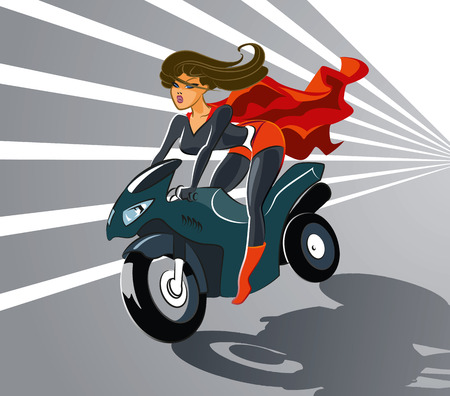 Super woman driving on motorcycle Illustration