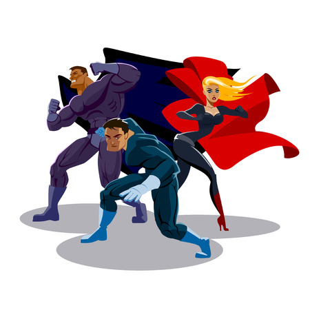 cartoon superhero: Superhero team. Look around. Stand in readiness