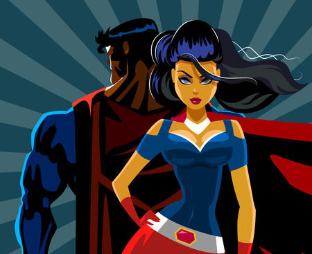 Superhero Couple: Male and female superheroes. Back to a back. Protection