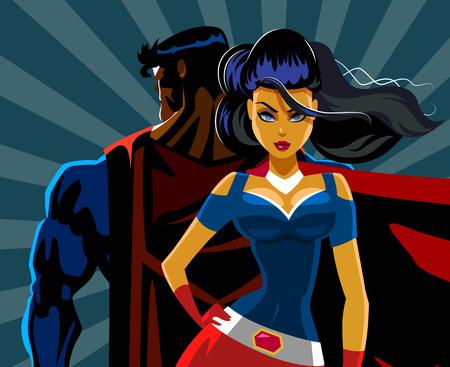Superhero Couple: Male and female superheroes. Back to a back. Protection