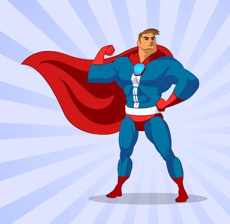 Super heroe. Ilustración del vector en un fondo Foto de archivo - 36953253