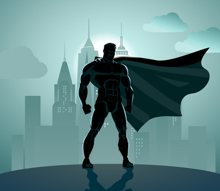 cartoon superhero: Superhero in City: Superhero watching over the city. Illustration