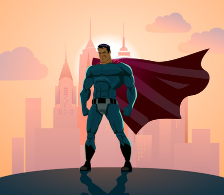 Superhero in City: Superhero watching over the city. 일러스트