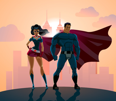Superhero Couple: Male and female superheroes, posing in front of a light. City background.