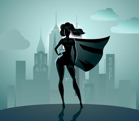 Super heldin silhouet: Super heldin over de stad achtergrond. Stock Illustratie