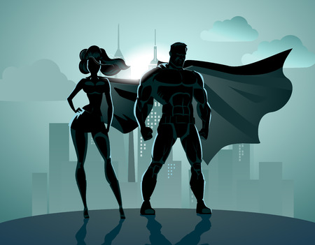 cartoon superhero: Superhero Couple: Male and female superheroes, posing in front of a light. City background.