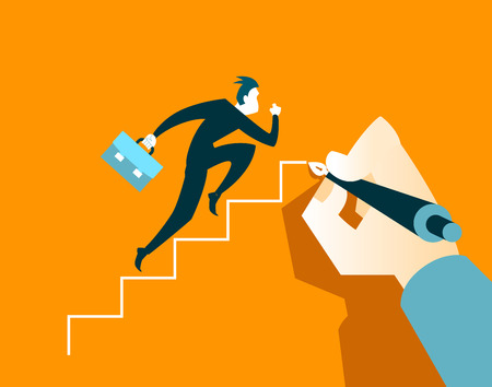 way up: Businessman running on the steps. Hand draws a ladder