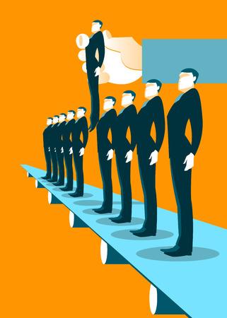 choosing: Recruitment Factory Illustration. Choosing worker