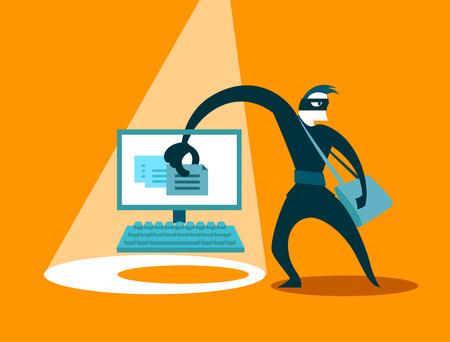 swindler: The swindler steals data Illustration