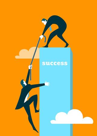 El hombre de negocios ayuda a que el socio de conseguir en un pedestal Foto de archivo - 40612514