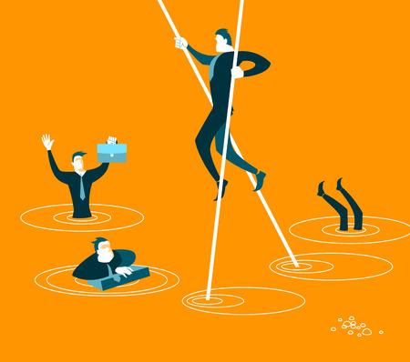 overcome: The smart will overcome all difficulties Illustration