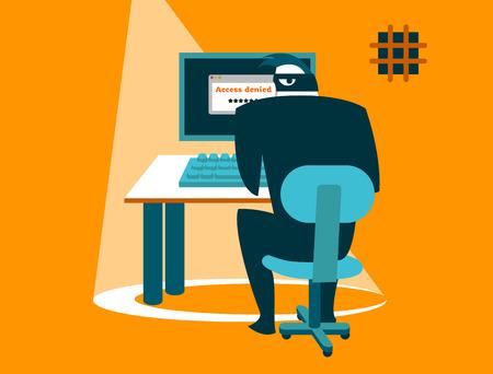 安全でない対応。情報セキュリティ慎重にハッカー!  イラスト・ベクター素材