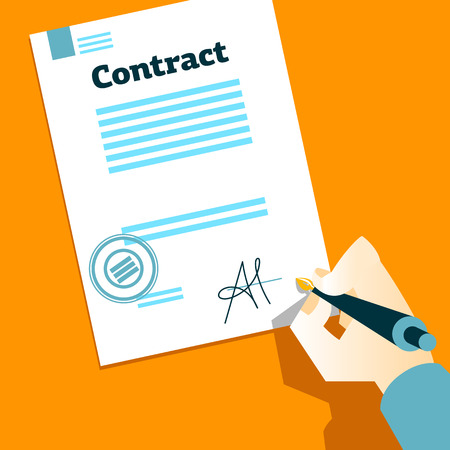 contract signing: Hand signs contract. Vector illustration