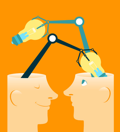 contemplation: Exchange of ideas. Vector illustration