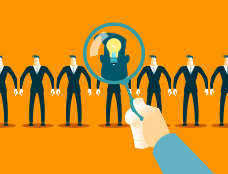 Search employees. Selecting ideas. Vector illustration