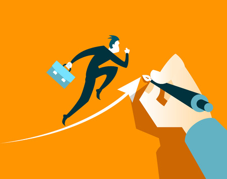 succeed: Hand draws an arrow. It helps business executives to succeed. Vector illustration