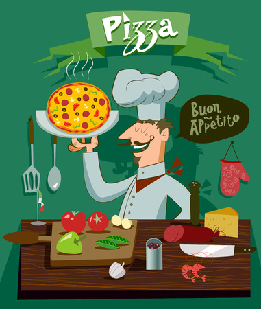 Cook in the kitchen preparing a pizza. A set of ingredients for design Vector