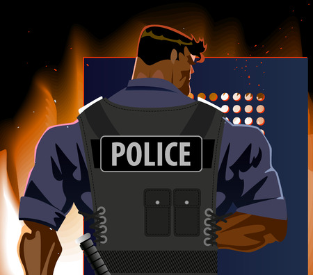 assassination: The police officer with a shield. Riot, fire, terrorism