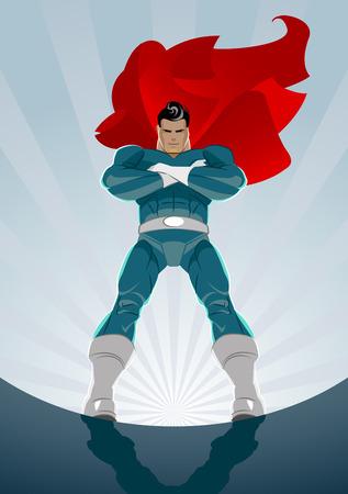 日の出背景に立っているスーパー ヒーロー