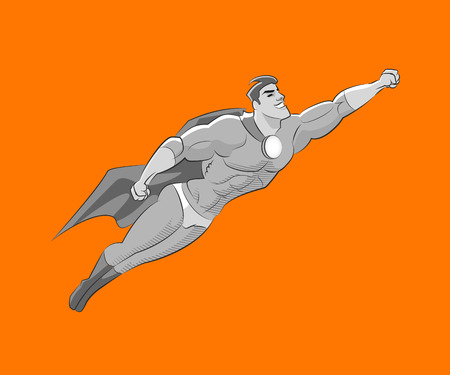 strong men: Flying superhero style Black and white pencil sketch Illustration