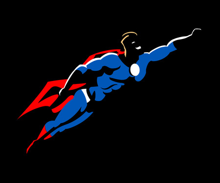 flying man: Superhero flying ready to work with red cape and boots, and a blue super hero garment vector illustration. Illustration