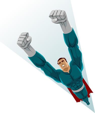 Superhero flying up. Vector illustration