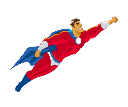stage costume: Superhero flying. Vector illustration