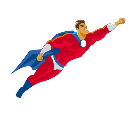 Superhero volando. Ilustración vectorial Ilustración de vector