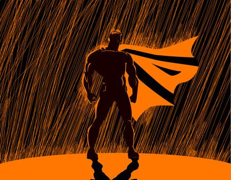 hombre fuerte: Super héroe en la lluvia: Superhéroe, vigilando la ciudad.