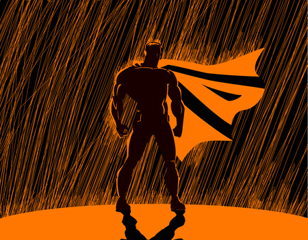 cartoon superhero: Superhero in rain: Superhero watching over the city.