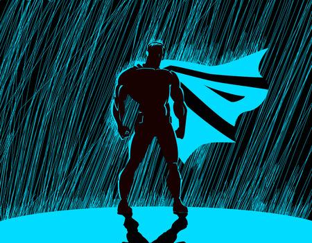 uomo sotto la pioggia: Supereroe in pioggia: Superhero che veglia sulla città.