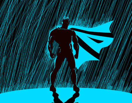 Superheld in de regen: Superhero waakt over de stad. Stock Illustratie