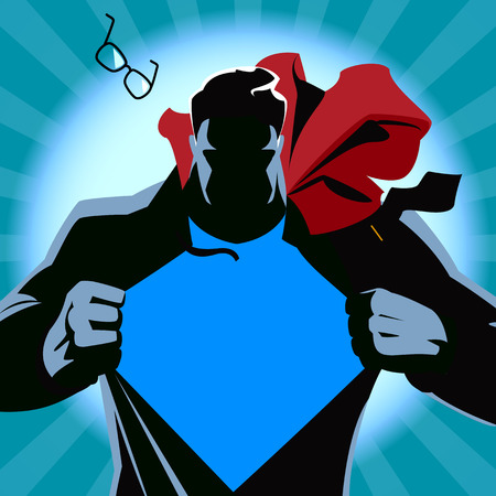 Superman tearing his shirt. Vector illustration. Silhouette Vettoriali