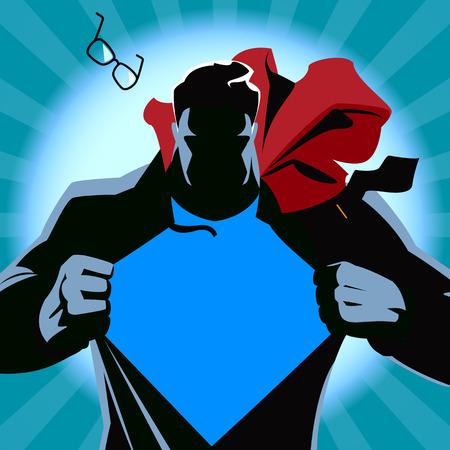toughness: Superman strappa la sua camicia. Illustrazione vettoriale. Silhouette