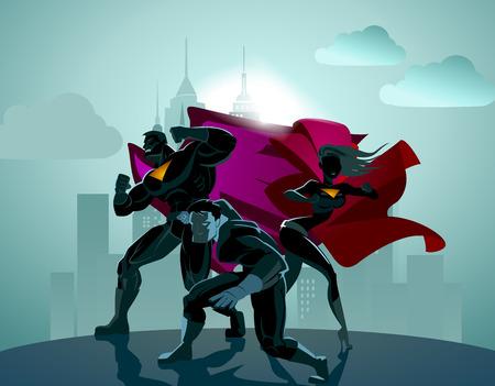 Superhero Team; Team van superhelden, poseren voor een licht.