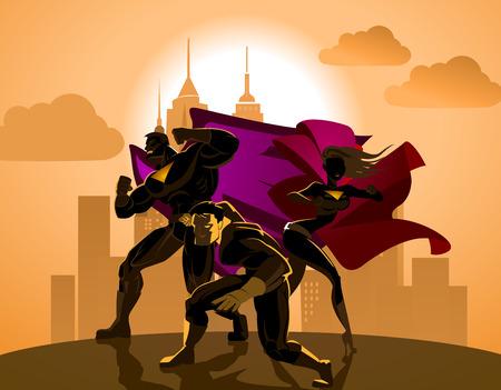menina: Equipe do super-herói; Equipe de super-heróis, posando na frente de uma luz.