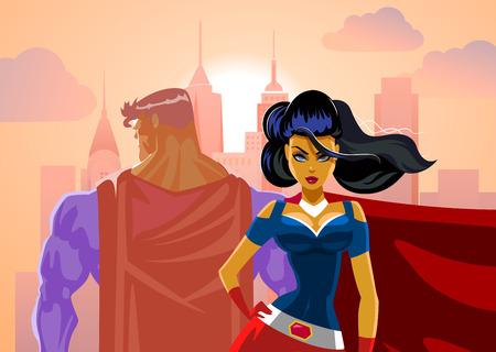 スーパー ヒーローのカップル: 男性と女性のスーパー ヒーロー。バックにすると。保護